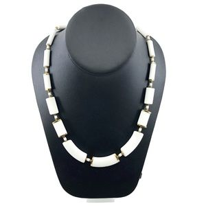 Vintage White Ceramic Gold Cap Bead Necklace